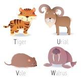 L'alphabet avec des animaux de T à W a placé 2 Image libre de droits