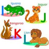 L'alphabet badine les animaux IJKL Photographie stock