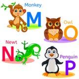 L'alphabet badine les animaux MNOP Photo stock