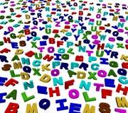 L'alphabet coloré marque avec des lettres le fond Photos libres de droits