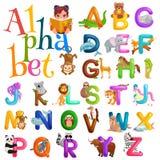 L'alphabet d'animaux a placé pour l'éducation d'ABC d'enfants dans l'école maternelle Images libres de droits
