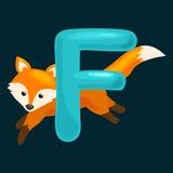 L'alphabet d'animaux pour des enfants pêchent la lettre F, éducation d'ABC d'amusement de bande dessinée dans l'école maternelle, Images stock