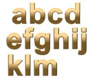 L'alphabet d'or marque avec des lettres la lettre minuscule A - M sur le blanc Image stock