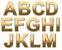 L'alphabet d'or marque avec des lettres le haut de casse A - M sur le blanc Image libre de droits