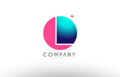 L alphabet 3d sphere letter blue pink logo icon design. L alphabet logo 3d blue sphere letter blue pink  creative company icon design template modern Stock Photos