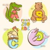 L'alphabet de zoo de l'enfant drôle d'animaux Style coloré d'encre tirée par la main Image libre de droits