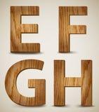 L'alphabet en bois grunge marque avec des lettres E, F, G, H. Vector illustration stock