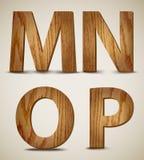 L'alphabet en bois grunge marque avec des lettres M, N, O, P. Vector illustration de vecteur