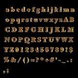 L'alphabet en entier du jaune rouillé peint a peint le métal Images libres de droits