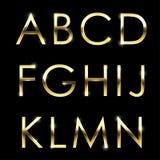 L'alphabet en métal de vecteur d'or a placé le haut de casse d'A à de N Illustration Stock