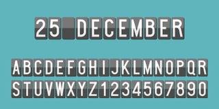 L'alphabet et les nombres mécaniques de tableau indicateur pour l'usage comme calendrier ou font de la publicité Photo stock