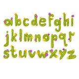 L'alphabet latin fait de cactus vert avec la floraison fleurit Lettres anglaises d'A à Z Police de vecteur plate pour l'affiche illustration de vecteur