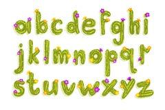 L'alphabet latin fait de cactus vert avec la floraison fleurit Lettres anglaises d'A ? Z Police de vecteur plate pour l'affiche illustration stock