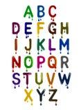 L'alphabet latin se compose des lettres colorées avec des baisses illustration stock