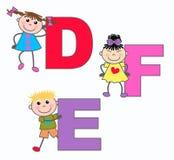 L'alphabet marque avec des lettres D E-F Photo stock