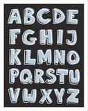 L'alphabet marque avec des lettres l'ensemble tiré par la main d'isolement sur le noir Images libres de droits