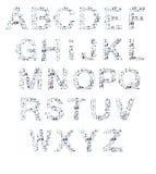 L'alphabet marque avec des lettres le panneau de craie Photographie stock