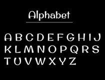 L'alphabet marque avec des lettres le panneau de craie Lettres de blanc d'alphabet Photos libres de droits