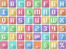 L'alphabet numérote des symboles arcade carrée plate d'icônes illustration de vecteur