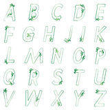 L'alphabet vert floral peut être employé pour des cartes de voeux de conception Photographie stock libre de droits