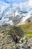 L'alpinista raggiunge la cima di una montagna nevosa Fotografia Stock Libera da Diritti