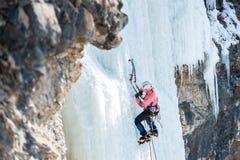 L'alpinista sale al icefall verticale con i rompighiaccio Fotografia Stock Libera da Diritti