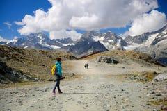 L'alpinista sta facendo un'escursione di estate, Zermatt Svizzera Fotografia Stock