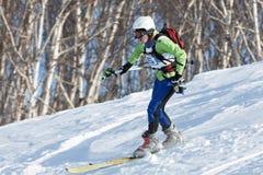 L'alpiniste de ski monte le ski sur la montagne sur le fond de forêt Photographie stock