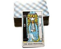 L'alta carta di tarocchi della sacerdotessa subcosciente, Alto-auto Fotografia Stock Libera da Diritti