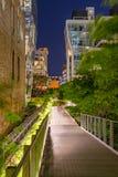 L'alta linea passeggiata alla notte, Chelsea, Manhattan, New York Fotografia Stock Libera da Diritti