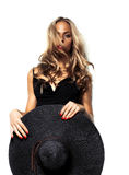 L'alta moda ha sparato della donna bionda con capelli ricci Immagine Stock Libera da Diritti