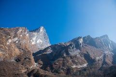 L'alta montagna in Annapurna sanctury Fotografia Stock Libera da Diritti