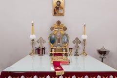L'altare della chiesa ortodossa Immagini Stock Libere da Diritti