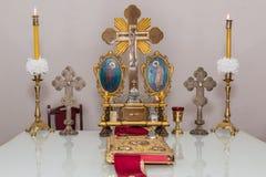 L'altare della chiesa ortodossa Fotografie Stock Libere da Diritti