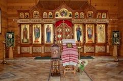 L'altare della chiesa ortodossa interno Immagine Stock Libera da Diritti