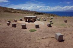 L'altare sacrificale alle rovine di Chincana su Isla del Sol sul Titicaca Fotografia Stock Libera da Diritti