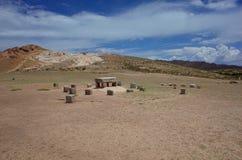 L'altare sacrificale alle rovine di Chincana su Isla del Sol sul Titicaca Fotografie Stock