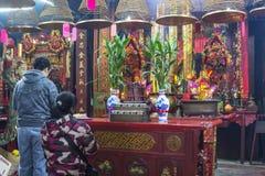 L'altare in tempio di Yeung Hau Immagini Stock Libere da Diritti