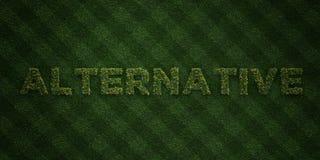 L'ALTERNATIVE - lettres fraîches d'herbe avec des fleurs et des pissenlits - redevance rendue par 3D libèrent l'image courante illustration de vecteur