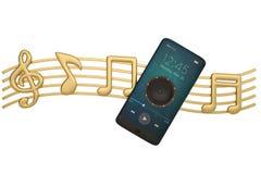 L'altoparlante sullo smartphone e sulla musica nota l'audio concetto illustrat 3d Illustrazione di Stock