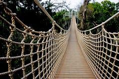 L'altra estremità di un ponte sospeso Fotografia Stock