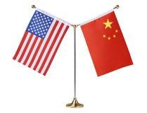 Drapeau de table d'Américain et de la Chine image stock