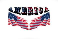 L'AMÉRIQUE avec deux drapeaux des Etats-Unis sur un fond blanc Photos libres de droits