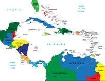 l'Amérique Centrale et la carte des Caraïbes Photos stock
