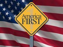 L'Amérique d'abord, slogan patriotique Images libres de droits