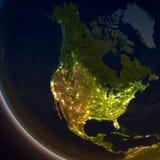 L'Amérique du Nord la nuit illustration libre de droits