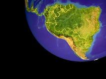 L'Amérique du Sud de l'espace sur terre photos stock