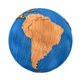 L'Amérique du Sud sur la terre en bois illustration libre de droits