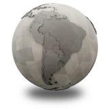 L'Amérique du Sud sur la terre métallique de planète Image libre de droits