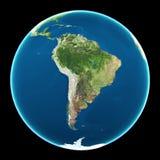 l'Amérique du Sud sur le globe Images stock